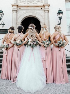A-Line One-Shoulder Convertible Style Pink Satin Long Bridesmaid Dress