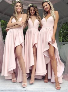 A-Line Spaghetti Straps Low-Cut Pink Satin Bridesmaid Dress with Split