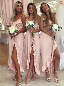 A-Line Spaghetti Straps Pink Satin Bridesmaid Dress with Ruffles Split