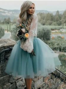 Two Piece Bateau Turquoise Tulle Homecoming Dress with Lace