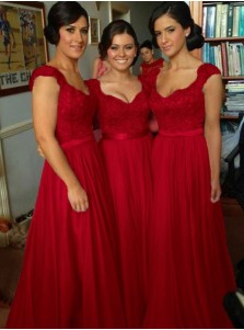 A-Line Scoop Cap Sleeves Dark Red Bridesmaid Dress with Sash Appliques