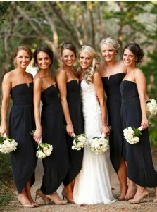 Sheath Strapless Ankle Length Black Elastic Satin Bridesmaid Dress