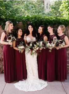 A-Line Round Neck Dark Red Chiffon Bridesmaid Dress with Lace