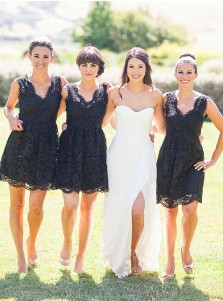 A-Line V-Neck Above Knee Black Lace Bridesmaid Dress