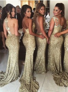 Mermaid Sweetheart Sweep Train Split-Side Gold Sequined Bridesmaid Dress with Ruched