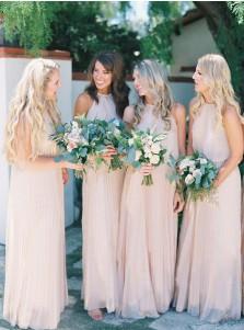 A-Line Halter Floor-Length Sleeveless Print Champagne Chiffon Bridesmaid Dress