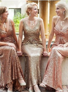 Mermaid Deep V-Neck Sweep Train Sleeveless Gold Sequined Bridesmaid Dress