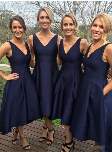 A-Line V-Neck Tea-Length Sleeveless High Low Navy Blue Chiffon Bridesmaid Dress