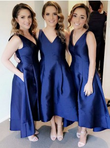 A-Line V-Neck Tea-Length Sleeveless High Low Navy Blue Satin Bridesmaid Dress