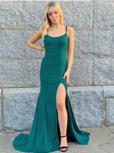 Green Sequins Satin Prom Dress