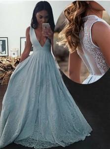 A-Line Deep V-neck Light Blue Prom Dress with Appliques Beading