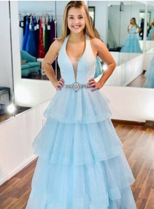 Organza Sequins Blue Prom Dress