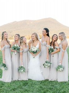 Whtie A-Line Off-the-Shoulder Long Bridesmaid Dress With Sleeveless