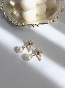 Zinc Alloy Earring with Imitation Pearls