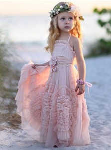 A-Line Halter Pink Tulle Flower Girl Dress with Ruffles Flowers