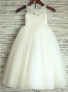 A-Line Jewel White Tulle Flower Girl Dress with Lace