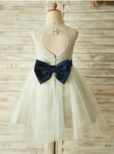 A-Line Jewel Open Back Ivory Flower Girl Dress with Bow