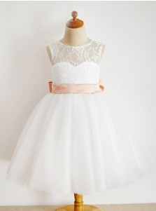 A-Line Jewel White Flower Girl Dress with Lace Pink Bow