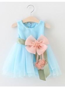 Cute Jewel Sleeveless Short Mint/Blue Organza Flower Girl Dress with Flower Pearls