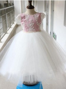 Charming Jewel Sleeveless Short White Flower Girl Dress with Lace Beading Pearls