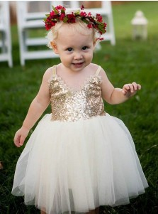 A-Line Straps White Tulle Flower Girl Dress with Lace Sequins