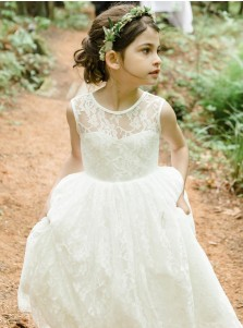 A-Line Jewel Backless Tea-Length White Lace Flower Girl Dress