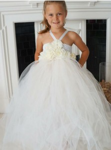 Ball Gown V-Neck White Tulle Flower Girl Dress with Lace Flowers