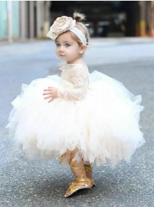 Ball Gown Bateau Long Sleeves Short Tulle Flower Girl Dress with Lace