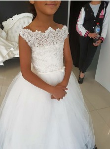 A-Line Bateau Cap Sleeves Floor-Length White Tulle Flower Girl Dress with Lace