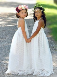 A-Line Halter Backless Floor-Length White Lace Flower Girl Dress