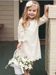 A-Line Round Neck 3/4 Sleeves Ivory Lace Flower Girl Dress