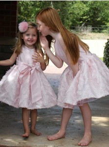 A-Line Round Neck Pink Satin Flower Girl Dress with Bowknot