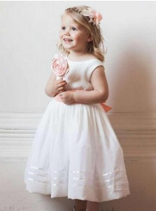 A-Line Round Neck Pearl Pink Elastic Satin Flower Girl Dress with Sash