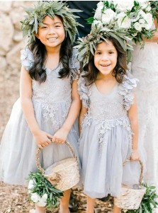 A-Line Scoop Grey Tulle Flower Girl Dress with Flowers Appliques