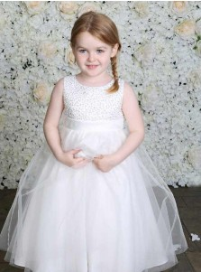 A-Line Round Neck White Tulle Flower Girl Dress with Beading