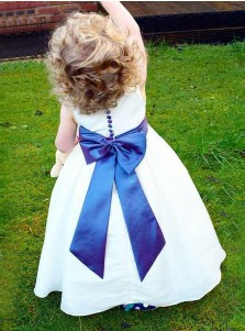 A-Line Round Neck White Elastic Satin Flower Girl Dress with Bowknot