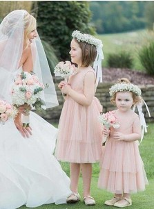 A-Line Round Neck Pink Tulle Flower Girl Dress with Sash