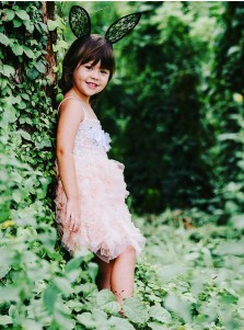 A-Line Spaghetti Straps Pink Tulle Flower Girl Dress with Lace Flowers