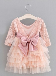 A-Line Round Neck Pleated Pink Tulle Flower Girl Dress with Flowers