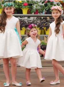 V-Neck V-Neck Pleated Ivory Satin Flower Girl Dress with Sash