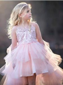 A-Line Round Neck High Low Pink Tulle Flower Girl Dress with Appliques