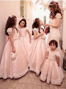 A-Line Round Neck Pink Satin Flower Girl Dress with Bowknot Appliques Beading