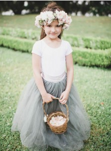 A-Line Round Neck Sweep Train Sage Tulle Flower Girl Dress