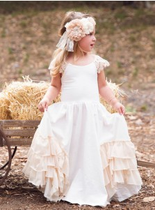 A-Line Round Neck Ivory Satin Flower Girl Dress with Ruffles Lace