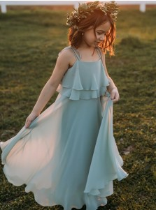 A-Line Spaghetti Straps Sage Chiffon Flower Girl Dress with Ruffles