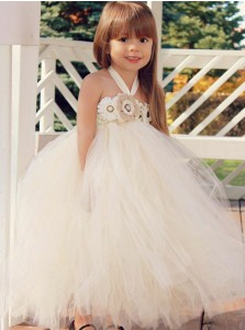 Ball Gown Halter Ivory Tulle Flower Girl Dress with Flowers
