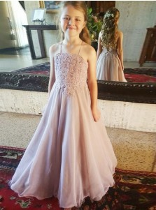 A-Line Spaghetti Straps Lilac Organza Flower Girl Dress with Appliques