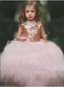 Ball Gown Round Neck Pink Tulle Flower Girl Dress with Sequins