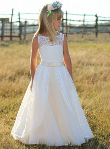 A-Line Round Neck White Lace Flower Girl Dress with Sash