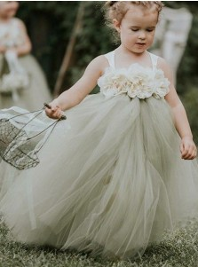 A-Line Straps Sweep Train Sage Tulle Flower Girl Dress with Flowers